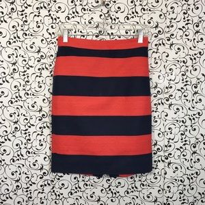 J.Crew Red/Blue Stripe The Pencil Skirt